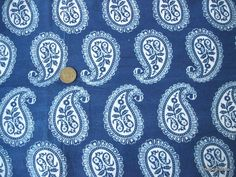 1 Yard Pure cotton paisley print fabric blue and white. $12.00 ...