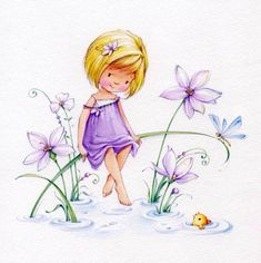 Pretty paper decoupage napkin with a little fairy girl in the flowers. Use for all your decoupage projects. Buy your decoupage supplies at Decoupage Designs USA Art Mignon, Paper Napkins For Decoupage, Cute Illustration, Cute Drawings, Cute Art, Cute Kids, Cute Pictures, Sketches, Illustrations