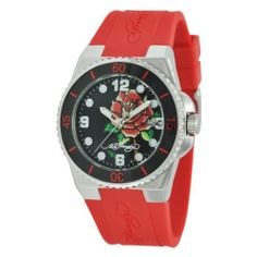 Ed Hardy Women's FU-RS Fusion Red Watch Ed Hardy. $58.79. Don ed hardy rose tattoo. Polished stainless steel case. Unidirectional bezel. Water-resistant to 100 M (330 feet). Hardened mineral crystal; 2 year limited warranty. Save 51%!