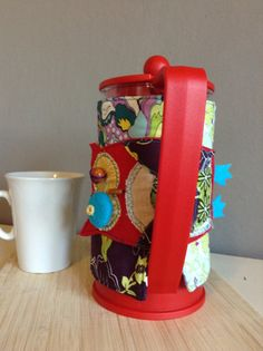 French Press Cozy Coffee Cover Owl Ugly Doll Fall by aModernSpin