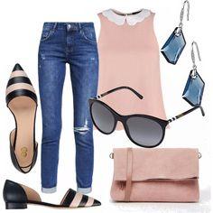 Un outfit grazioso e semplice. Jeans di linea dritta con risvolti, abbinato ad un top rosa con collettino bianco. Ballerina a punta blu e rosa. Piccola tracolla rosa. Occhiali da sole Burberry. Orecchini pendenti con pietre blu.