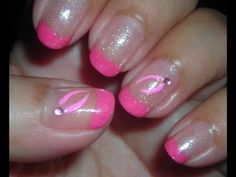 """Nail Art Simple Pink - Diseño de Uñas (Breast Cancer Awareness Inspired)  basecoat, pink-french-tip, Sally Hansen: Diamond Strength: clear glitter, one rhinestones and lighter-pink """"ribbon"""" design painted on"""