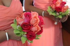 The bridesmaids bouquets courtesy of Something New Florist.