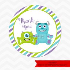 INSTANT DOWNLOAD   Monsters Inc Baby Shower Favor Tags