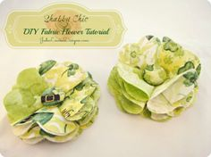 Fabric Flower #Tutorial; How to make a St Patricks Day Shabby Chic Fabric Posy flower #hairclip #fabricflower #stpatricksday #shabbychic