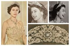 The Nizam of Hyderabad Tiara (with detachable rose brooches) made by Cartier - Queen Elizabeth wore this tiara occasionally after she received it as a wedding present until it was dismantled in 1973 to create the Burmese Ruby Tiara.   Photos (clockwise from left): Queen Elizabeth II of the United Kingdom; Queen Elizabeth II of the United Kingdom; Queen Elizabeth II of the United Kingdom; tiara detail