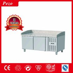 Stainless Steel Commercial Pizza Counter Refrigerator on adjustable feet