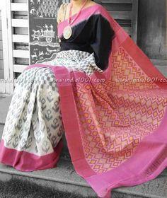 Buy Delicate Cotton Printed Regular Saree (Code: online from sourgrape's online Phulkari Saree, Ikkat Saree, Indian Silk Sarees, Indian Beauty Saree, Indian Dresses, Indian Outfits, Modern Saree, Sari Blouse Designs, Simple Sarees