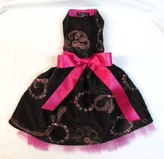 Ribbons and rhinestones embroidered dog gown. www.lucymedeiros.com