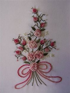 Embroidery Designs Companies per Embroidery Library Coupon though Brazilian Embroidery Projects over Embroidery Crewel Definition along with Embroidery Designs Free Brazilian Embroidery Stitches, Types Of Embroidery, Rose Embroidery, Hand Embroidery Stitches, Silk Ribbon Embroidery, Hand Embroidery Designs, Embroidery Techniques, Cross Stitch Embroidery, Embroidery Patterns