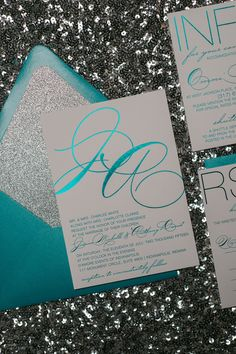 JESSICA Suite Glitter Package Peacock Teal And Silver Foil Stamping Wedding
