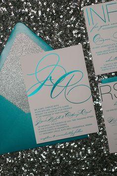 JESSICA Suite Glitter Package. Teal Wedding InvitationsWedding ...