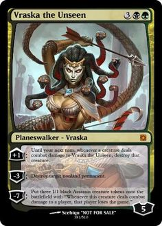 Vraska the Unseen Magic The Gathering Planeswalker, Mtg Planeswalkers, Mtg Altered Art, Mtg Art, Magic The Gathering Cards, Alternative Art, Magic Cards, Wizards Of The Coast, Pretty Cards