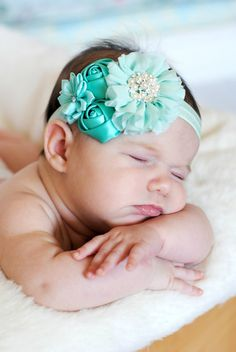 Mint satin and chiffon headband Girl by BabyBloomzBoutique on Etsy