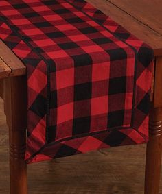 W x L Plaid look is achieved by intersecting Black & Red rows Border of diagonal plaid accentuates the runner Cotton Machine wash in cold water with like colors, gentle cycle No chlorine bleach. Tumble dry low, remove promptly. Iron if needed Plaid Christmas, Christmas Decor, Country Christmas, Christmas 2019, Simple Christmas, Holiday Decor, Checkerboard Table, Buffalo Check Table Runner, Brunch Table