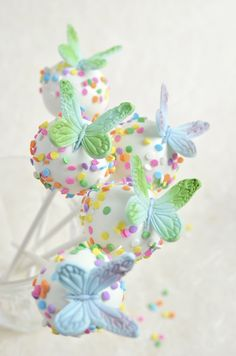 Cake pops with handmade fondant butterfly