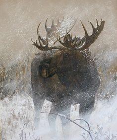 Winter Moose in Willows by Charity Dakin Acrylic ~ 20 x 16
