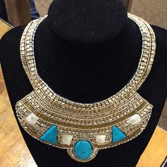 Bnwt statement gold and turquoise bib necklace Bnwt statement gold and turquoise bib necklace with rocks and extender Ethel & myrtle Jewelry Necklaces
