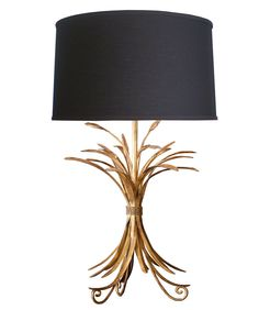- Gold Wheat Sheaf Table Lamp - iron frame with a gold gilded finish - 250 watt maximum - high - lampshade sold separately; shown with our Large Black Linen Drumshade - 2 week delivery time Outside Lighting Ideas, Market Table, Contemporary Light Fixtures, English Decor, Lighting Concepts, Arc Floor Lamps, Gold Light, My Living Room, Chandelier Lighting