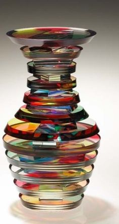 Polished Laminated Plate Glass Vase by Sydney Hutter. I don't really know what era this is from. Sorry, he is a contemporary glass artist. I don't have a modern board. Blown Glass Art, Art Of Glass, Glass Artwork, Glass Paint, Murano Glass, Fused Glass, Stained Glass, Glass Vase, Cut Glass