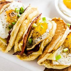 Pancake tacos with fried eggs