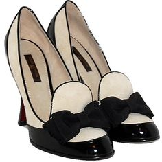 Louis Vuitton Black White Bow Pumps