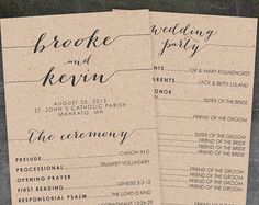 Rustic Wedding Program Printable Wedding by KarlyKDesignShop