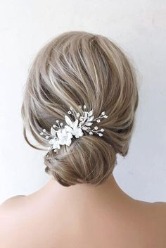 This Pin was discovered by Bridal Star wedding hair accessories. Discover (and save!) your own Pins on Pinterest. Romantic Wedding Hair, Wedding Hair Clips, Wedding Hair Pieces, Wedding Updo, Wedding Flowers, Star Wedding, Headpiece Wedding, Wedding Signs, Floral Wedding