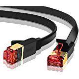 Ethernet Gigabit Lan Network Cable (RJ45) Advanced CAT 7 |Gold Connectors| 10Gbps 600MHz |10/100/1000Mbit/s | Patch cable | STP | compatible with CAT.5 / CAT.5e / CAT.6 | Switch/Router/Modem/Patch panel / Access Point / patch fields | 30M IBRA Flat Black