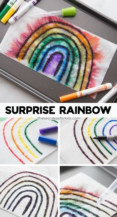 Surprise Rainbow Kids Activity - such a fun spring or indoor kids activity! Make these 2 fun and easy rainbow activities! Surprise kids with these surprise rainbow activities. You only need water, markers and paper towel to do them! Rainbow Activities, Indoor Activities For Kids, Spring Activities, Toddler Activities, Preschool Activities, Educational Activities, Family Activities, Weather Activities For Kids, Kids Crafts