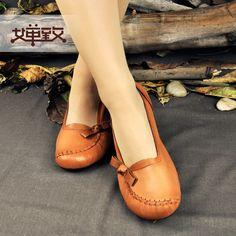 e2f01972a809 2015 Women Handmade Shoes Flat Heels Genuine Leather Vintage Shoes