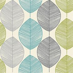 Arthouse Wallpaper Opera Retro Leaf Teal/Green