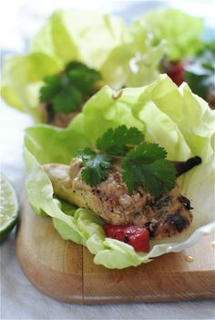 Peanut Chicken Satay Lettuce Wraps by Bev Cooks Peanut Chicken, Chicken Satay, Cooked Chicken, Chicken Wraps, Grilled Chicken, Lettuce Wrap Recipes, Lettuce Wraps, Paleo Recipes, Asian Recipes