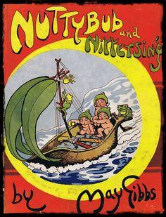"""Nuttybub and Nittersing"" by May Gibbs. World Of Books, My Books, Mermaid Fairy, 3d Street Art, Vintage Children's Books, Australian Artists, Typography Prints, Children's Book Illustration, Vintage Pictures"