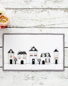 Create a lovely neighborhood mini quilt with little houses using fabric scraps and applique. Bev at Flamingo Toes has a free pattern and tutorial you can use. It's so sweet from all black a… Small Quilts, Mini Quilts, Easy Quilts, Mini Quilt Patterns, Sewing Patterns, Quilting Patterns, Quilting Projects, Sewing Projects, Art Quilting