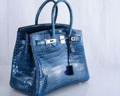 HERMES BIRKIN BAG 35cm BLUE ROI CROCODILE PHW PORO Purses For Sale 240d43a4c1611