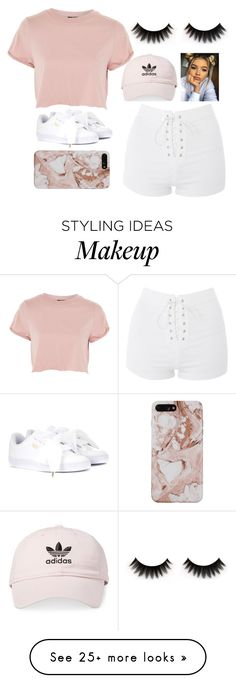 """rose y go around"" by queensalma on Polyvore featuring Puma, Topshop and adidas"