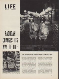 "Description: 1952 PADUCAH ATOM PLANT vintage print article ""Paducah Changes"" -- Paducah Changes Its Way Of Life ... Atom Plant Jolts The Lethargy Out Of A Kentucky Town -- Size: The dimensions of each page of the five-page article are approximately 10.5 inches x 14 inches (26.75 cm x 35.5 cm). Condition: This original vintage five-page article is in Excellent Condition unless otherwise noted ()."