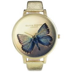 Olivia Burton Woodland Metallic Butterfly Watch ($114) ❤ liked on Polyvore featuring jewelry, watches, accessories, часы, butterfly watches, butterfly jewelry, pin jewelry, monarch butterfly jewelry and olivia burton watches