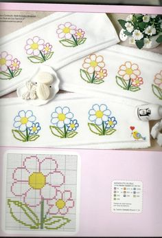 Here you can look and cross-stitch your own flowers. Mini Cross Stitch, Cross Stitch Cards, Cross Stitch Borders, Cross Stitch Flowers, Counted Cross Stitch Patterns, Cross Stitch Designs, Cross Stitching, Cross Stitch Embroidery, Embroidery Patterns