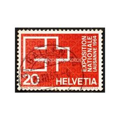 Postage stamp Switzerland 1963 EXPO Emblem, Lausanne, 1964 | Stock... via Polyvore