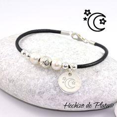 08c8f1f0d968 Pulsera personalizable de cuero y plata de Hechizo de Plata Joyería