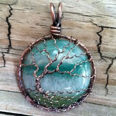 Druzy Agate Antique Copper Tree of Life Pendant.