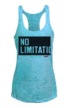 'No Limitations' aqua blue racerback burnout tank. Workout gear.