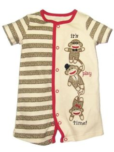 Amazon.com: Sock Monkey Baby Boy Embroidered Romper by Baby Starters