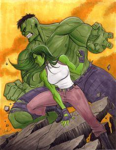 #Hulk #Fan #Art. (Hulk and She-Hulk) By: Protokitty. [THANK U 4 PINNING!!]