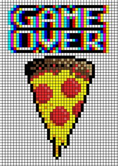 Game over pizza cross stitch pattern. Perler bead pattern