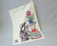 Badger tea towel. £12.50, via Etsy.