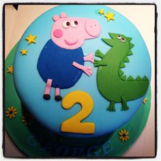 Peppa pig George cake...think this might be the theme for Little Legs' 2nd Birthday!