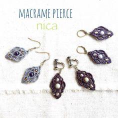 アメジスト マクラメピアス - nica Stone & Macrame Accessory